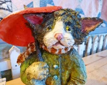 OOAK Folk Art Paper Mache Clay Kitty Cat Sculpture by Maure Bausch