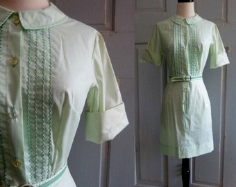Vintage 1960s Mini Dress 60s Green Mini Dress Cotton Womens Extra Small to Small