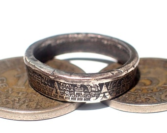 AZTEC CALANDAR Mexican 5 or 10 cent RING! Made from a genuine 18th century coin! pick your size