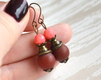 Red agate dangle earrings Red agate and pink coral jewelry Beaded jewelry Boho earrings Bohemian jewelry Vintage earrings Rustic jewelry