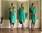 Shape Shifter Midi Dress Oversized Asymmetric Dress Off Shoulder Boho Dress Short Sleeve Loose Dress (More Colours) Light Jersey - XS-XL