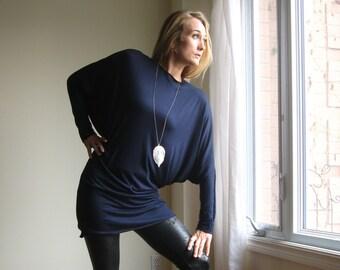 Minimalist Dolman Sleeve Dress Plus Size Tunic Loose Oversized Sweater Long Sleeve Round Neck XS - XL (More Colours) Lightweight Jersey