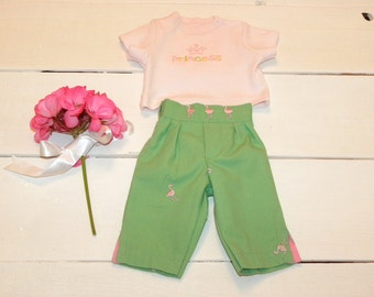 Apple Green Pants and Pink Tshirt - 16 - 17 inch doll clothes
