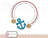 Nautical monogram frame embroidery. Beach embroidery design. Summer embroidery download. Sailor embroidery. Summer monogram.