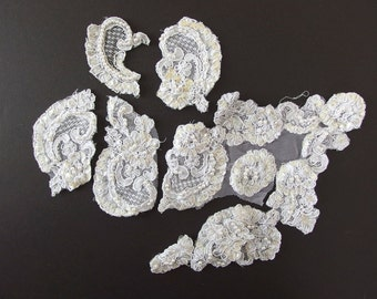 Misc. Alencon Lace Pearled and Sequined Applique Motifs - Recycled