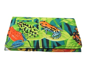 """BI-FOLD  Woman Wallet with """"Frogs In Jungle"""" Tropical Hawaiian  Pattern , Cotton  Fabric, New, Rare"""