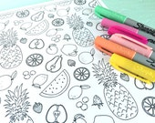 Printable FRUITS Coloring Page!- Digital File Instant Download- pineapple, watermelon, peach, strawberries, adult coloring