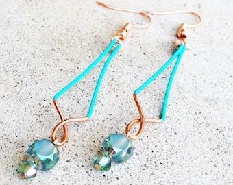 Turquoise Copper Earrings Wire-wrapped Handmade Sinewy Dangle Beaded Color Block Earrings By Distinctly Daisy