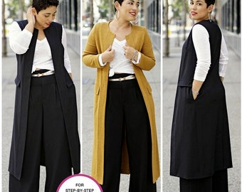 Wide Leg Pants and Knit Top Pattern, Unlined Duster Length Coat or Vest Pattern, Simplicity Sewing Pattern 8177