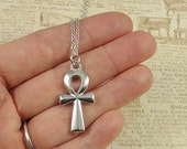Ankh Necklace, Silver Plated Ankh Charm on a Silver Cable Chain