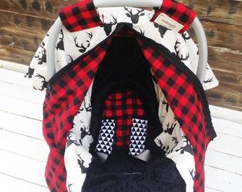 Boy Car Seat Cover/ Car Seat Canopy Custom Gift Sets