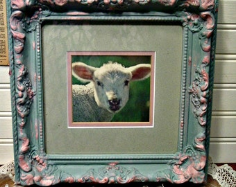 Framed Art Lamb - Blue and Pink Chalkpaint - Wall Art - Nursery Art - Photo Prop - Farmhouse Decor