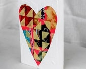 Geometrical Heart Mixed Media Valentine Original Painting Gifts for Her Gifts Under 40 Galentine Gift Yellow Triangles Hot Pink