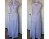 Vintage 70s hip purple/blue maxi dress bust 38