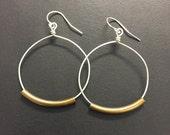 1 and 1/4 inch sterling silver hoop earrings, Rustic Hoop earrings, Mixed Metal Earrings or All silver earrings