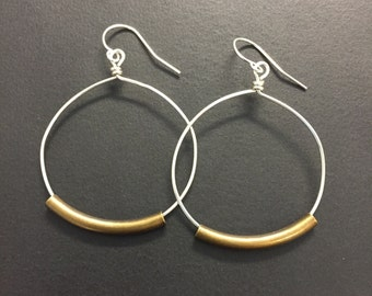 1 and 1/4 inch sterling silver hoop earrings, Rustic Hoop earrings, Mixed Metal Earrings or All silver earrings