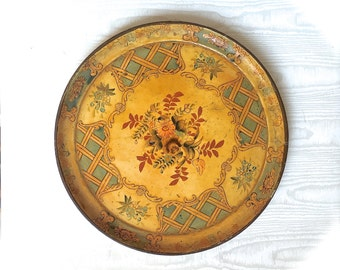 Paper Mache Tray, Alcohol Proof Tray, Round Tray Japan, Hand Painted Floral Tray Yellow