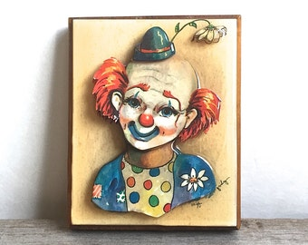 3D Clown Art, Signed Thayer Lacquered Paper Wood Plaque 1970's Fugly