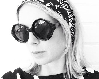 Marimekko Black and White Headscarf Turban Headband Hovinaiset Fabric