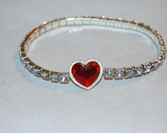 Vintage / Heart / Red / Cabochon / Bracelet / Rhinestone / Flex / Sparkle / Bling / old jewelry