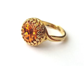 Gold Plated Orange Glitter Ring, Gold Ring, Glitter Cabochon, Orange Ring, Sparkle Ring, More Colours, or Choose Sterling Silver, Rose Gold