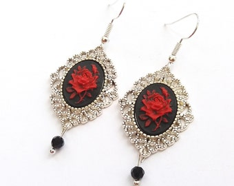 Silver Gothic Rose Earrings, Victorian Earrings, Black and Red Rose Earrings, Black Rose Cameo, Choose Plated, Surgical or Sterling Wires