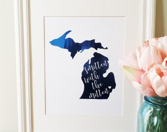 Smitten with the Mitten, 8x10 Real Foil Print