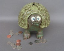 Stoneware Coin Bank, Ridiculously Happy Turtle