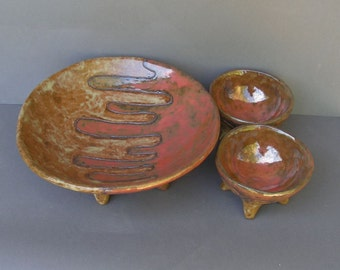 Large Stoneware 4-Legged Bowl with Two Smaller Matching Bowls, Glazed in Caramel and Copper