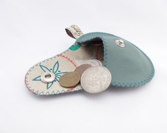 Leather Coin Purse / The Mini Gypsy Change Purse / Teal Leather and Modern Print Linen Lining /