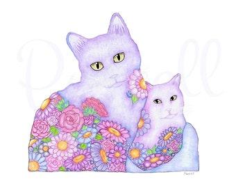 Two Floral Kitties
