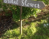 Rustic Wood Wedding Sign on Stake Bridal Shower Directional Arrow Cursive Script Ready to Ship