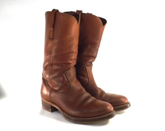 vintage 70s brown campus boots thick leather sz 10.5 women 9.5 men distressed slouch tall pull slip on fashion shoe retro old frye hard sole