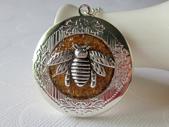 Custom and Personalized Stained Glass Bee Locket