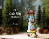 Enchanted Windmill Fairy House - Miniature N Scale Dutch Style Windmill with Wooden Sails, Colorful Tiled Dome Roof, Blooming Flower Boxes