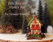 RESERVED for VL - Woodland Fairy Inn Upon a Star - The Enchanted Woods - Miniature Timbered Tudor Fae Inn with Pine Trees and Flower Boxes