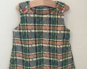 Toddler Vintage Green Plaid Corduroy Fall Dress, size 2T