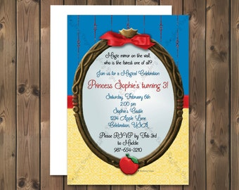 Snow White Birthday Invitation, Princess Invitation, Princess Birthday Invitation, Snow White Invitation, Princess Snow White, Custom Invite