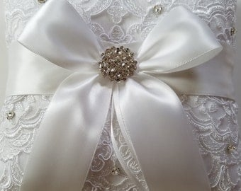 Wedding Ring Pillow with Alencon Lace, White Satin Bow with Rhinestones - The SABRINA Pillow