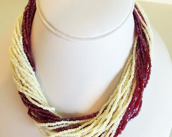 Lovely Vintage Glass Seed Bead Multi Strand Choker Necklace
