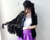 Crochet Black shawl, Crochet shawl, Black Long Fringed shawl, black lace shawl, lace crochet shawl
