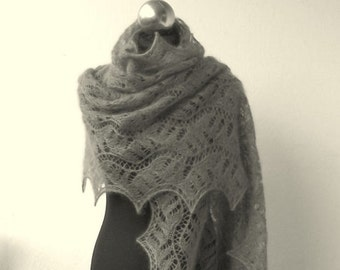 Grey hand knitted lace stole ,luxury kidsilk  shawl