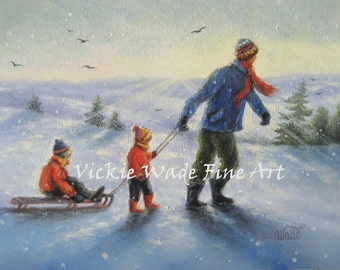 Sledding With Dad Art Print brother sister boy girl, playing snow winter, snow children two kids sledding, art, painting, Vickie Wade Art