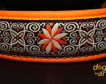 "Dog Collar ""Pinwheel Zinnia"" by dogs-art, martingale collar, leather dog collar, dog collar leather, orange dog collar, slip dog collar"