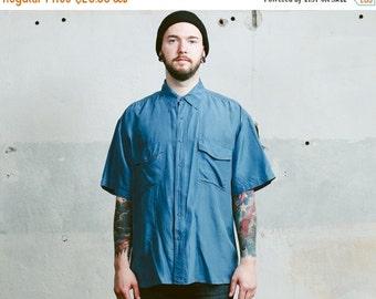 SALE . WASHED Silk Shirt . Vintage 1990s Minimalist Style Button Up Blue Mens Oversized Skater Fit Short Sleeve Summer Shirt . size Extra La