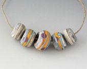 Southwest BHB Set - (5) Handmade Lampwork Beads - Bone Ivory, Yellow, Lavender - Matte, Etched