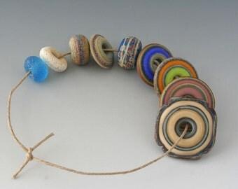 Rustic Mix - (9) Handmade Lampwork Beads - Blue, Green, Pink