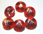 Fun Orange and Silver Vintage 18mm Glass Buttons Set 6 Sewing Buttons