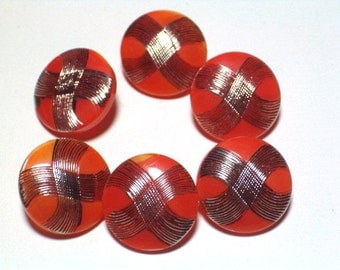 SALE Fun Orange and Silver Vintage 18mm Glass Buttons Set 6 Sewing Buttons