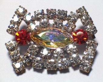 Vintage Glass Rhinestone Button 38mm Embellishment Button Metal Shank